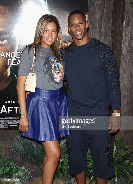 Victor Cruz and Elaina Watley attend the 'After Earth' premiere at the Ziegfeld Theater on May 29 2013 in New York City