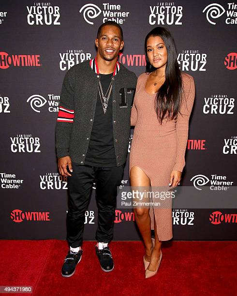 Victor Cruz and fiancee Elaina Watley attend I Am A Giant Victor Cruz New York screening at Crosby Street Hotel on October 26 2015 in New York City