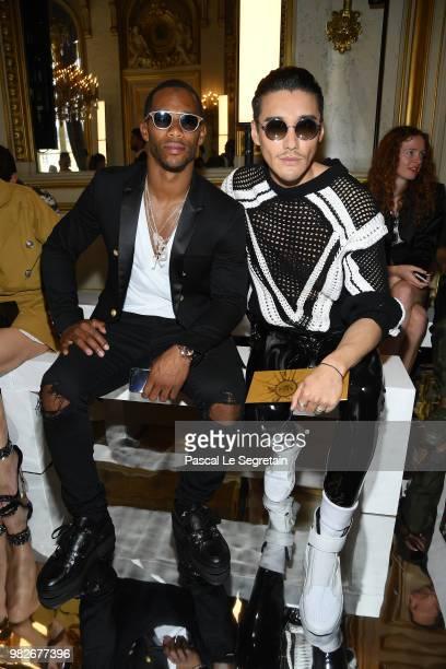 Victor Cruz and Hu Bing attend the Balmain Menswear Spring/Summer 2019 show as part of Paris Fashion Week on June 24 2018 in Paris France