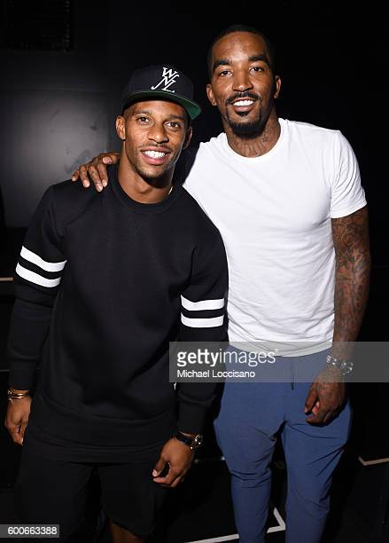 Victor Cruz and JR Smith attend the Rookie USA Presents Kids Rock during New York Fashion Week The Shows September 2016 at The Dock Skylight at...