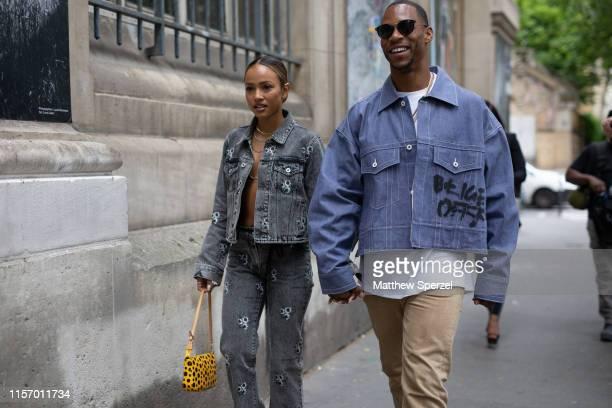 Victor Cruz and Karrueche Tran are seen on the street during Men's Paris Fashion Week on June 19, 2019 in Paris, France.