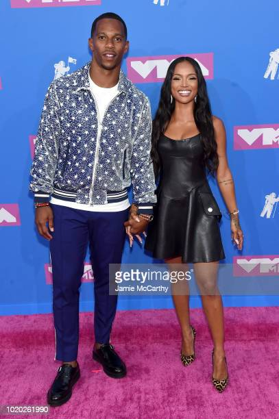 Victor Cruz and Karrueche Tran attend the 2018 MTV Video Music Awards at Radio City Music Hall on August 20 2018 in New York City