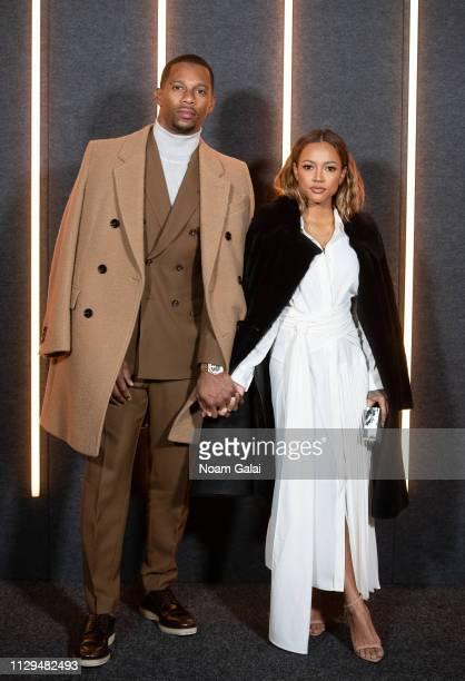 Victor Cruz and Karrueche Tran attend the BOSS Womenswear & Menswear fashion show during New York Fashion Week on February 13, 2019 in New York City.
