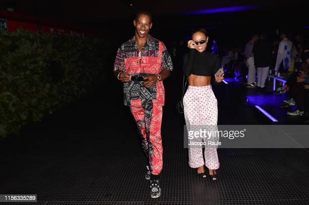 Victor Cruz and Karrueche Tran attend the Palm Angels fashion show during the Milan Men's Fashion Week Spring/Summer 2020 on June 16, 2019 in Milan,...