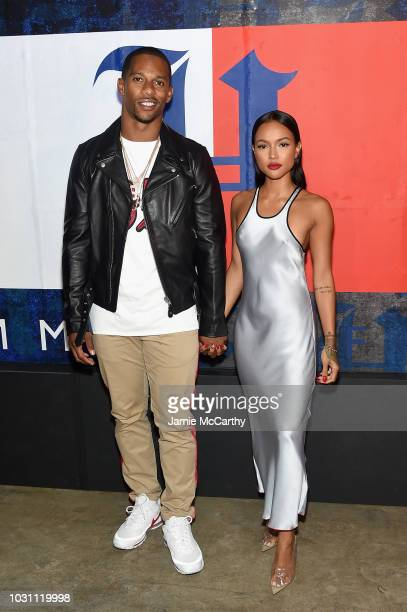 Victor Cruz and Karrueche Tran attens the TommyXLewis Launch Party at Public Arts on September 10 2018 in New York City