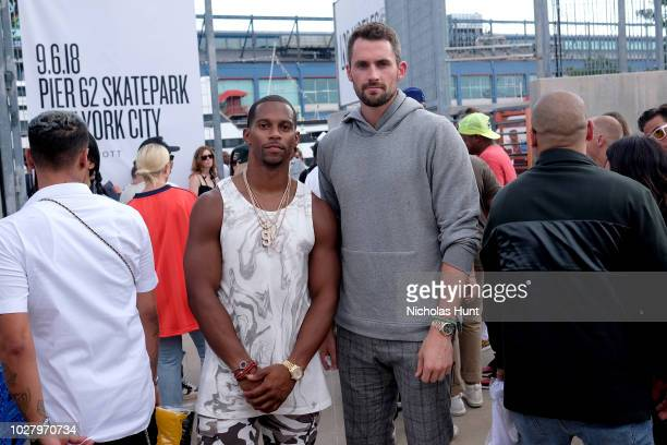Victor Cruz and Kevin Love attend the John Elliott front row during New York Fashion Week The Shows on September 6 2018 in New York City