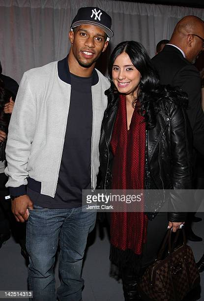 Victor Cruz and Laura Stylez attend the Hennessy Wild Rabbit campaign launch event at the Highline Studios on April 5 2012 in New York City