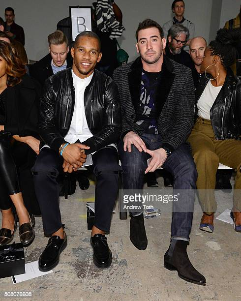 Victor Cruz and Matt Harvey are seen front row during Ovadia Sons New York Fashion Week Men's Fall/Winter 2016 at Skylight at Clarkson Sq on February...