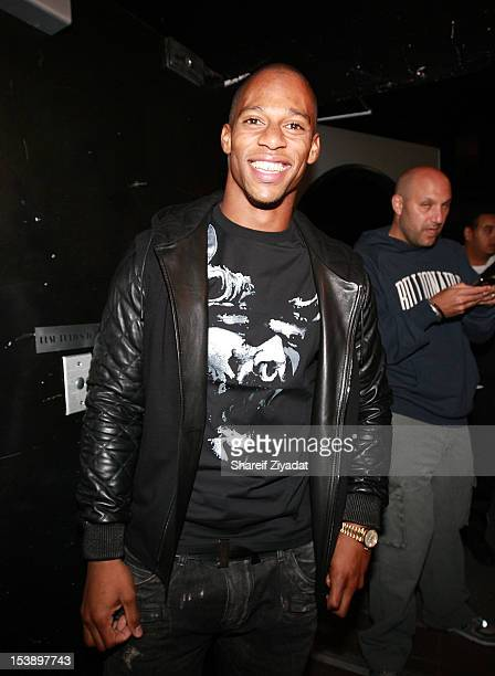 """Victor Cruz attends the album listening party of Meek Mill's """"Dreams and Nightmare"""" at Electric Lady Studio on October 10, 2012 in New York City."""