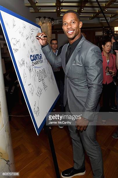Victor Cruz attends the Annual Charity Day hosted by Cantor Fitzgerald BGC and GFI at Cantor Fitzgerald on September 12 2016 in New York City