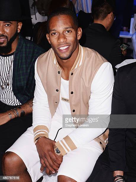 Victor Cruz attends the front row at the Michael Bastian fashion show during New York Fashion Week: Men's S/S 2016 at Skylight Clarkson Sq on July...
