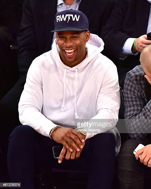 Victor Cruz attends the Houston Rockets vs New York Knicks game at Madison Square Garden on January 8 2015 in New York City