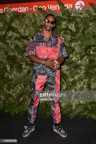 Victor Cruz attends the Palm Angels fashion show during the Milan Men's Fashion Week Spring/Summer 2020 on June 16, 2019 in Milan, Italy.