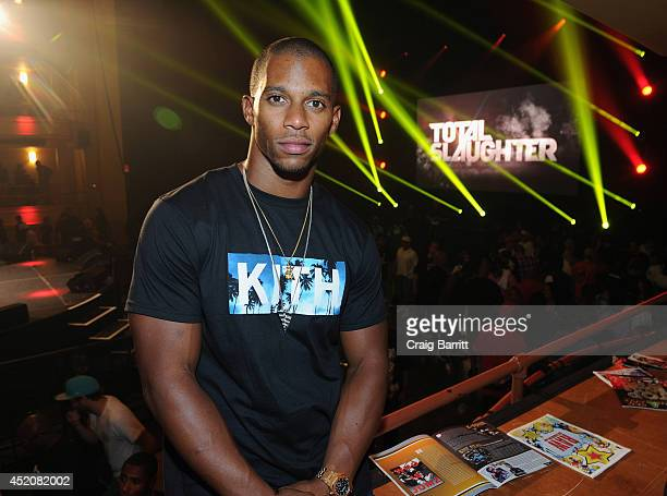 Victor Cruz attends the Total Slaughter, hosted by Shady Films and WatchLOUD.com at Hammerstein Ballroom on July 12, 2014 in New York City.