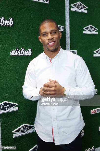 Victor Cruz attends the 'Welcome To New York' party presented by Roc Nation Sports Airbnb at the 40/40 Club on January 29 in New York City