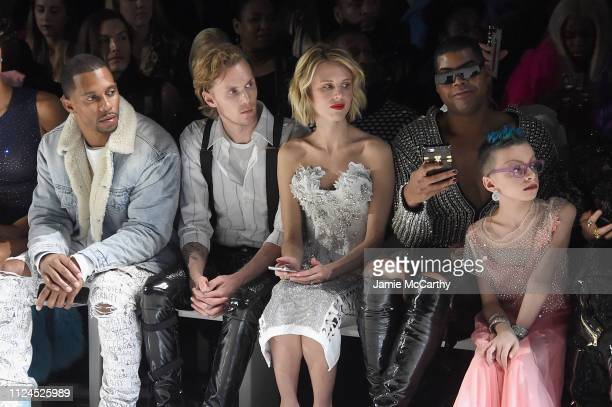 Victor Cruz, Barron Hilton II, Tessa Hilton, EJ Johnson and Desmond Is Amazing attend the The Blonds front row during New York Fashion Week: The...