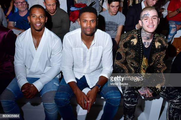 Victor Cruz Brice Butler and Lil Peep attend the Balmain Menswear Spring/Summer 2018 show as part of Paris Fashion Week on June 24 2017 in Paris...