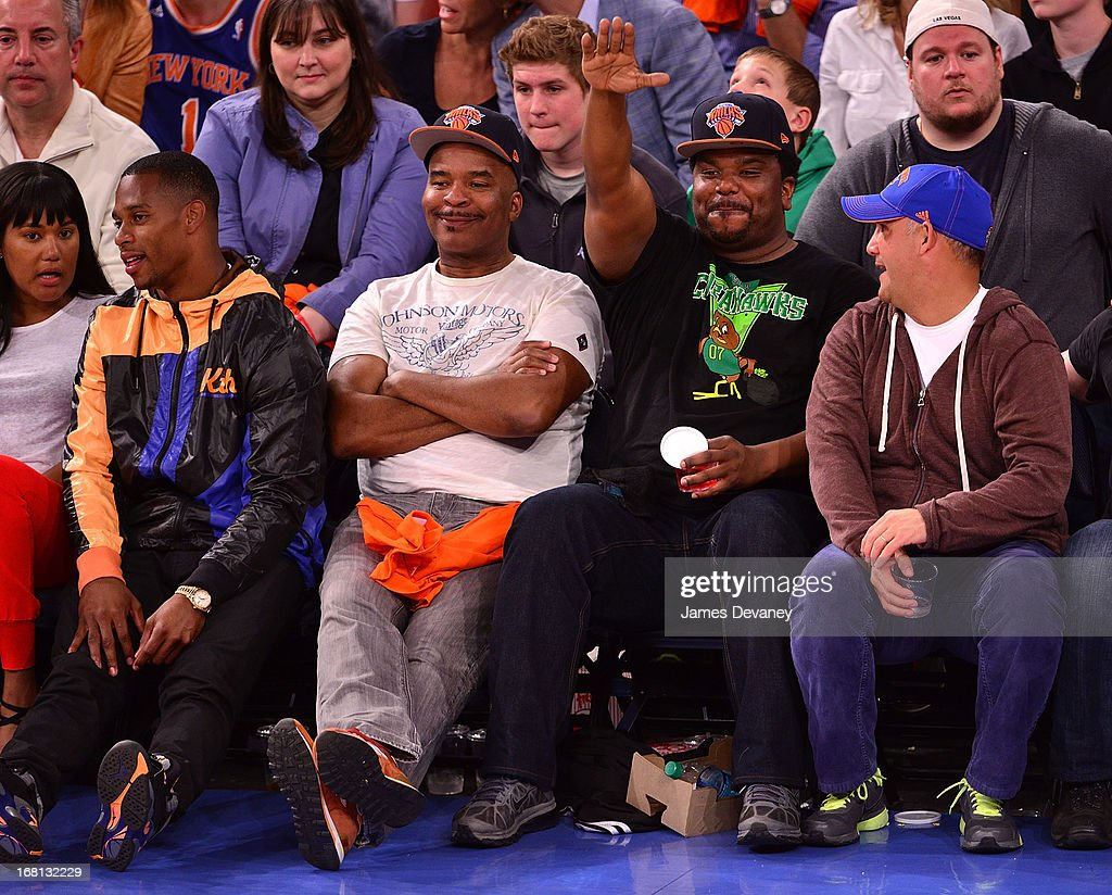 Victor Cruz, David Alan Grier and Craig Robinson attend the New York Knicks vs Indiana Pacers NBA playoff game at Madison Square Garden on May 5, 2013 in New York City.
