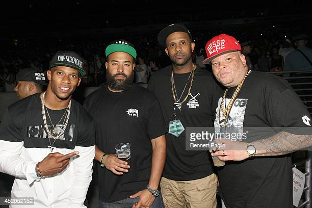 Victor Cruz Ebro CC Sabathia and Shawn Picas attend the D'USSE VIP Riser Lounge At On The Run Tour MetLife Stadium on July 11 2014 in East Rutherford...