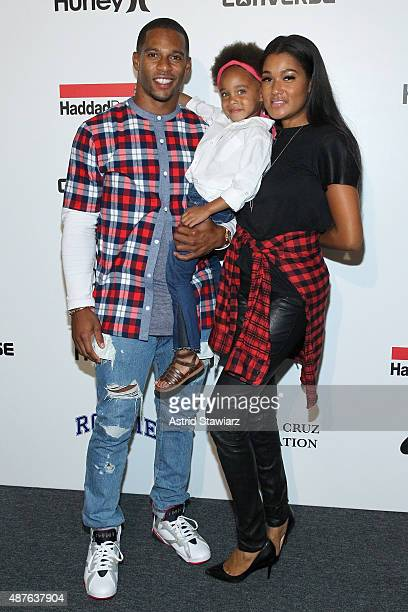 Victor Cruz Kennedy Cruz and Elaina Watley pose backstage at the Kids Rock fashion show during Spring 2016 New York Fashion Week The Shows at The...