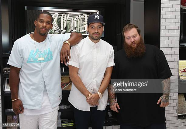 Victor Cruz, Ronnie Fieg and Action Bronson attend KITH Brooklyn Flagship Store Opening at KITH on August 24, 2015 in New York City.