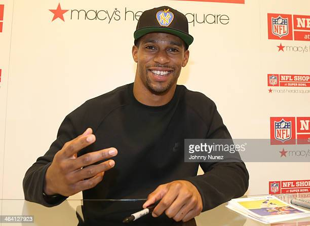 Victor Cruz visits the NFL Shop at Super Bowl at Macy's Herald Square on January 20 2014 in New York City