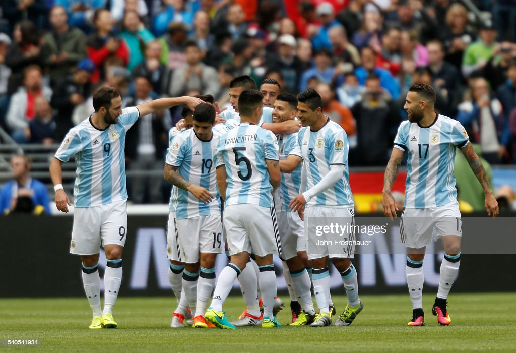 Victor Cuesta of Argentina celebrates with teammates after scoring the third goal of his team during a group D match between Argentina and Bolivia at Century Link Field as part of Copa America Centenario US 2016 on June 14, 2016 in Seattle, Washington, US.