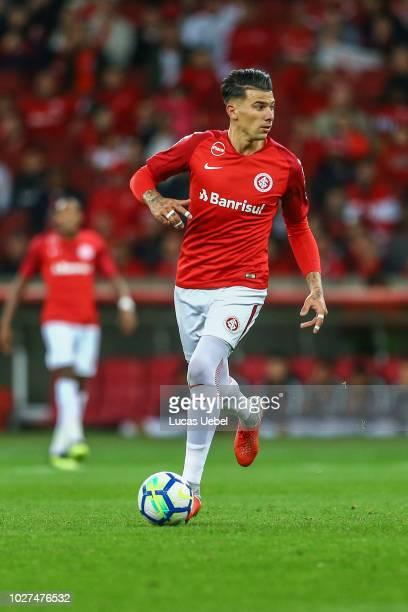 Victor Cuesta of Internacional during the match between Internacional and Flamengo as part of Brasileirao Series A 2018 at BeiraRio Stadium on...