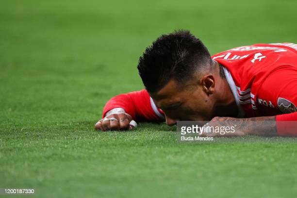 Victor Cuesta of Internacional reacts during a match between Internacional and Universidad de Chile as part of Copa CONMEBOL Libertadores 2020...