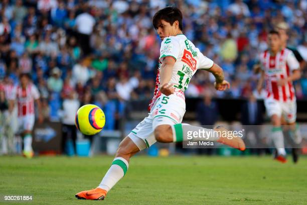 Victor Davila of Necaxa kicks the ball during the 11th round match between Queretaro and Necaxa as part of the Torneo Clausura 2018 Liga MX at La...