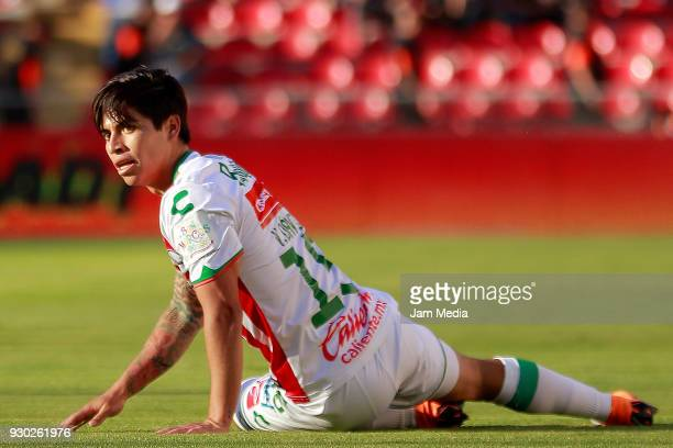 Victor Davila of Necaxa reacts during the 11th round match between Queretaro and Necaxa as part of the Torneo Clausura 2018 Liga MX at La Corregidora...