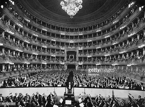 Victor de Sabata conducting at La Scala in Milan Italy circa 1949