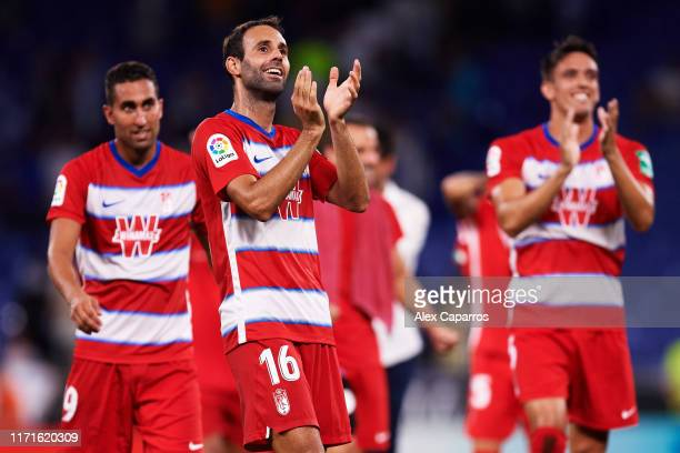 Victor Diaz of Granada CF applauds their supporters after the Liga match between RCD Espanyol and Granada CF at RCDE Stadium on September 01 2019 in...