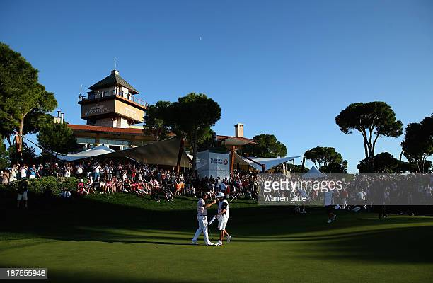 Victor Dubuisson of France celebrates winning the 2013 Turkish Airlines Open on the Montgomerie Maxx Royal Course on a score 24 under par on November...