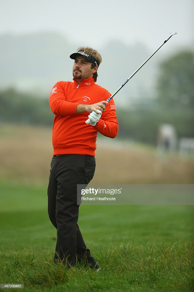 Victor Dubuisson of France in action during the pro-am for the Volvo World Matchplay at The London Club on October 14, 2014 in Ash, England.