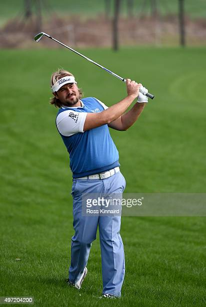 Victor Dubuisson of France on the par five 3rd hole during the final round of the BMW Masters at Lake Malaren Golf Club on November 15 2015 in...