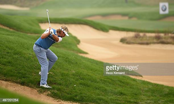 Victor Dubuisson of France on the par five 7th hole during the final round of the BMW Masters at Lake Malaren Golf Club on November 15 2015 in...