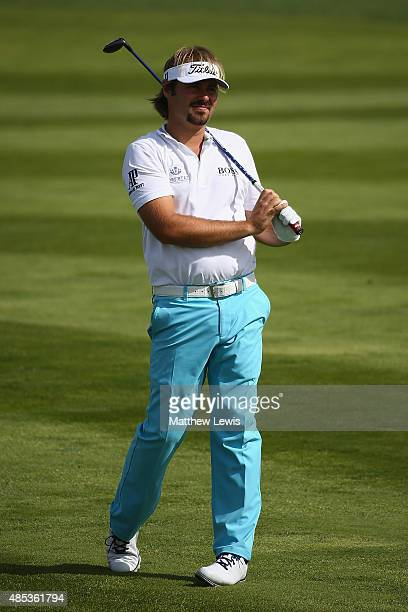 Victor Dubuisson of France plays a shot from the 10th fairway during day one of the DD Real Czech Masters at Albatross Golf Resort on August 27 2015...