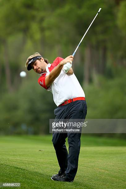Victor Dubuisson of France plays into the 12th green during the first round of the 2014 Turkish Airlines Open at The Montgomerie Maxx Royal on...