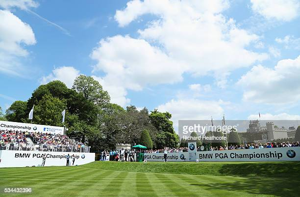Victor Dubuisson of France tees off on the 1st hole during day one of the BMW PGA Championship at Wentworth on May 26 2016 in Virginia Water England