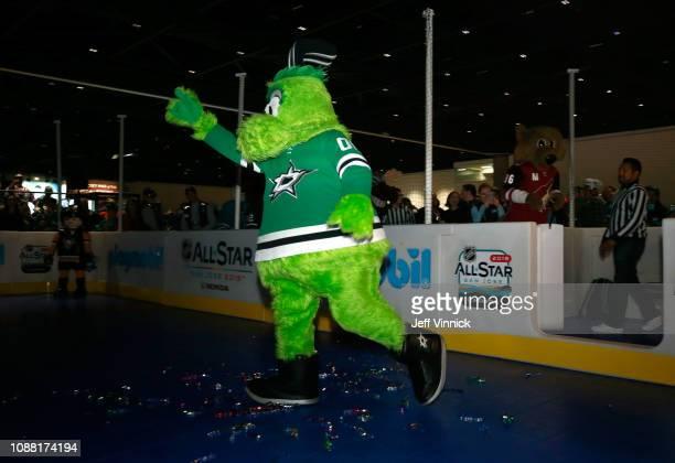 Victor E Green of the Dallas Stars participates in the 2019 NHL AllStar Mascot Showdown on January 24 2019 in San Jose California