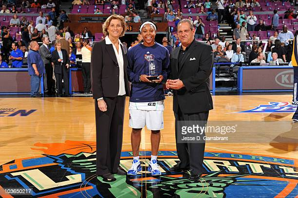 Victor Emmanuel of KIA Motors and President and General Manager Carol Blazejowski present Cappie Pondexter of the New York Liberty the 2010 WNBA...