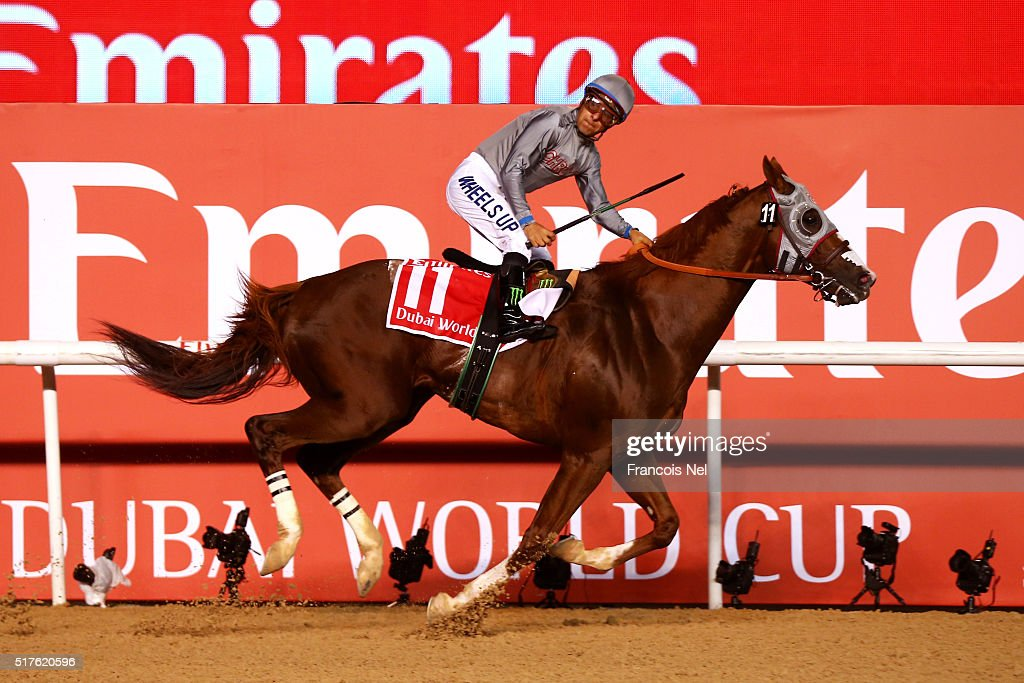 Victor Espinoza rides California Chrome to victory in the Dubai World Cup Sponsored By Emirates Airline as part of the Dubai World Cup at Meydan Racecourse on March 26, 2016 in Dubai, United Arab Emirates.