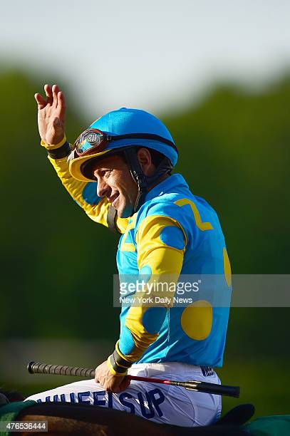 Victor Espinoza riding American Pharoah wins the 147th running of the Belmont Stakes Saturday June 6 2015 at Belmont Racetrack in Elmont NY American...
