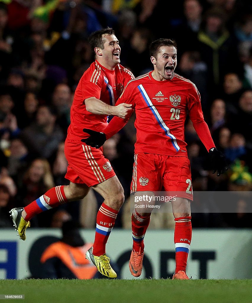 Victor Fayzulin of Russia celebrates after scoring their first goal during an International Friendly between Brazil and Russia at Stamford Bridge on March 25, 2013 in London, England.