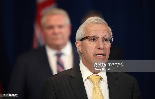 TORONTO ON MAY 6 Victor Fedeli Minister of Economic Development Job Creation and Trade answers a question as Premier Doug Ford along with Health...
