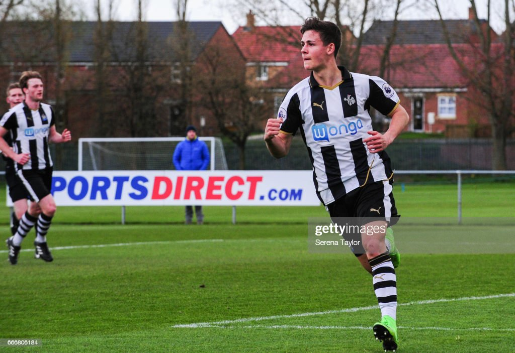 Victor Fernandez of Newcastle (11) celebrates after scoring Newcastle's second goal goal during the Premier League 2 Match between Newcastle United and Fulham at Whitley Park on April 10, 2017 in Newcastle upon Tyne, England.