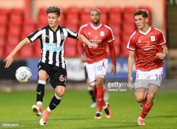 Victor Fernandez of Newcastle United controls the ball during the Checkatrade Trophy Match between Crewe Alexandra and Newcastle United at Gresty...