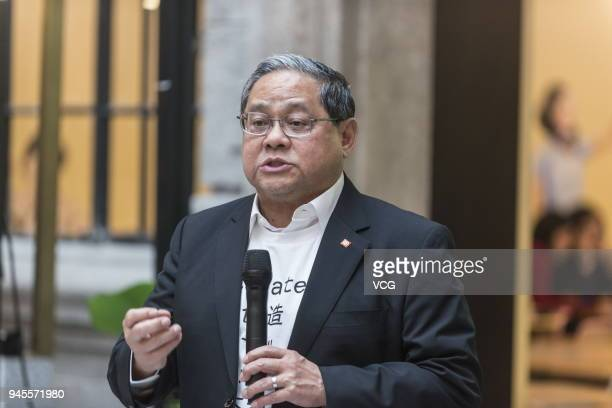 Victor Fung Kwokking chairman of Fung Group speaks during a signing ceremony at WeWork Weihai Road flagship on April 12 2018 in Shanghai China...