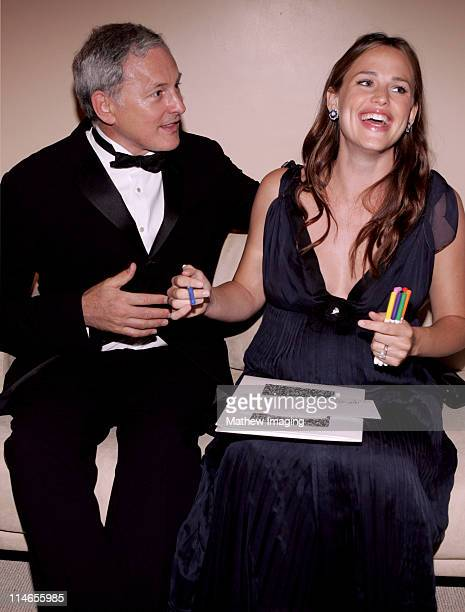 Victor Garber and Jennifer Garner during 57th Annual Primetime Creative Arts EMMY Awards Green Room at Shrine Auditorium in Los Angeles California...